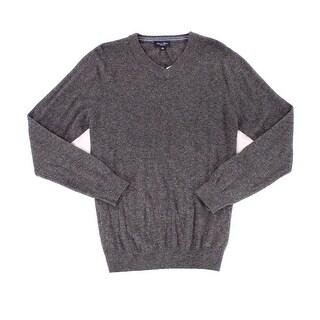 LINEA ROSSO Gray Mens Size Medium M V-Neck Cashmere Knit Sweater