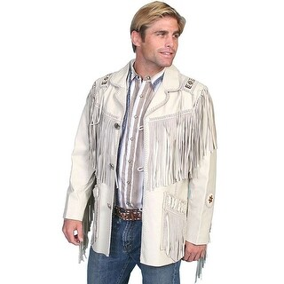 Scully Western Coat Men Concho Leather Button Fringe Bead Cream
