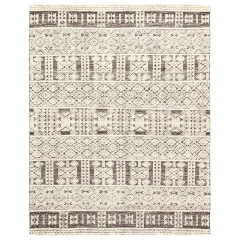 Royce Hand-Knotted Tribal Ivory/ Grey Area Rug