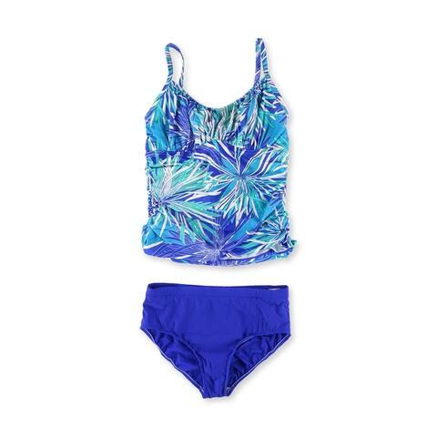 Swim Solutions Womens Printed Basic Brief 2 Piece Tankini, Blue, 14