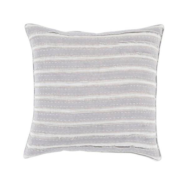 "20"" Cream White and Gray Striped Applique Woven Square Throw Pillow"
