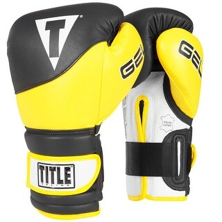 Title Boxing Gel Suspense V2T Hook and Loop Training Gloves - Black/Yellow (2 options available)