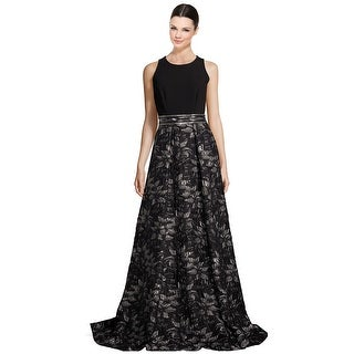 Carmen Marc Valvo Beaded Floral Jacquard Evening Gown Dress - 8