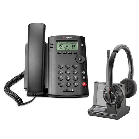 Polycom VVX 101 Corded Voice Over IP Phone with Plantronics Savi W8220 Wireless Headset