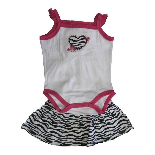 Carter's Baby Girls White Fuchsia Zebra Pattern Heart Bodysuit Skirt Set 3-9M