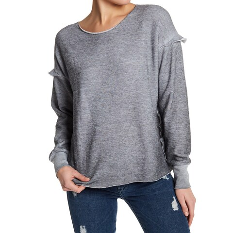 Wildfox Womens Burnout Pullover Ruffle-Trim Sweater