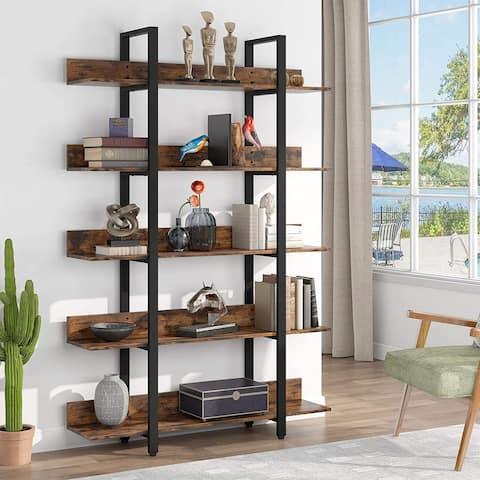 Industrial 5-Shelf Etagere Bookcase Display Shelf