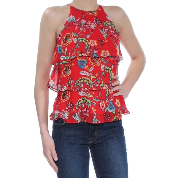 BCX Womens Red Printed Sleeveless Halter Tiered Top Size: 2XS