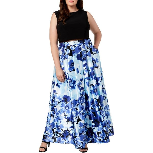 B&A by Betsy and Adam Womens Plus Evening Dress Sleeveless Full-Length