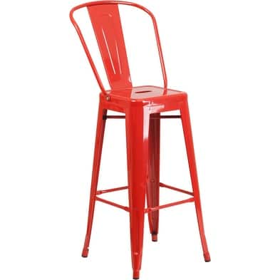 "Brimmes 30"" High Metal Barstool Red w/Curved Slat"