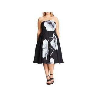 City Chic Womens Plus Party Dress Strapless Floral Print - m