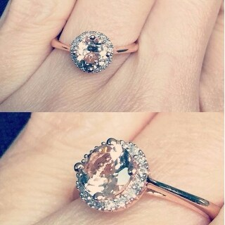 Miadora 10k Pink Gold 4/5ct TGW Morganite and 1/10ct TDW Diamond Ring (H-I, I2-3)