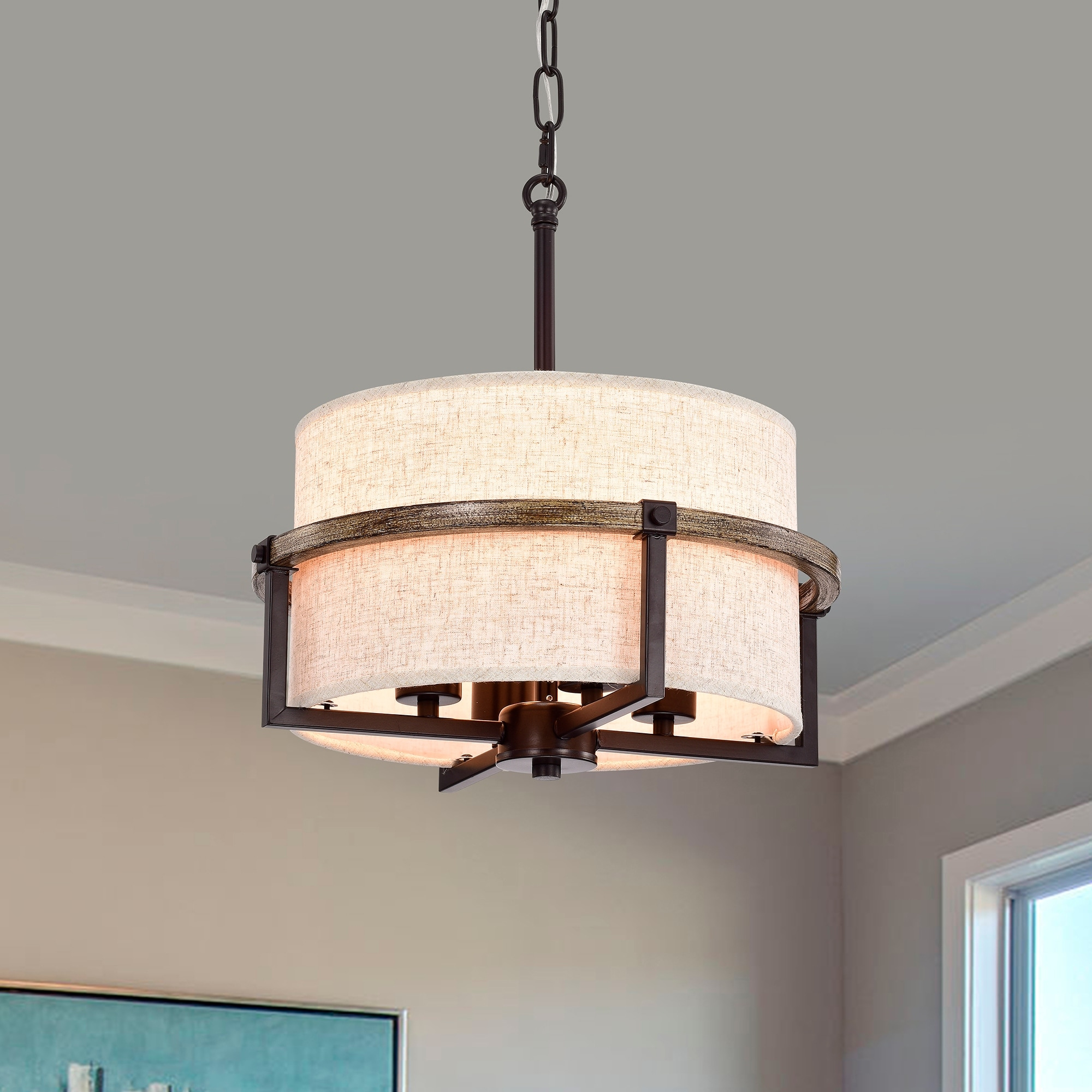 Image of: Shop Black Friday Deals On Natty Oil Rubbed Bronze 4 Light Metal Fabric Drum Shade Chandelier Overstock 31984639