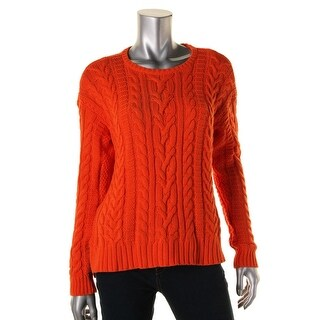 Ralph Lauren Womens Cable Knit Ribbed Pullover Sweater