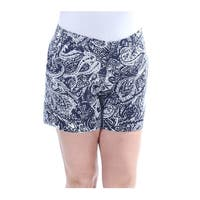 INC Womens Navy Flat Front Paisley Short  Size: 0