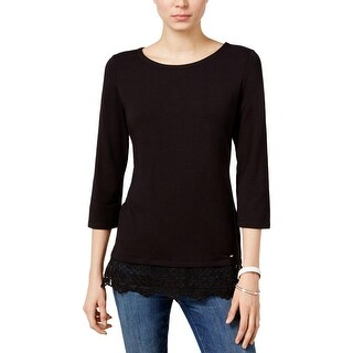 Tommy Hilfiger Womens Casual Top Matte Jersey Lace Trim (More options available)