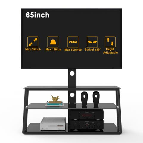 Swivel Floor TV Stand with Mount up to 65 Inch,Corner TV Stands with 3 Tier Sturdy Tempered Glass Base for Media Storage Black