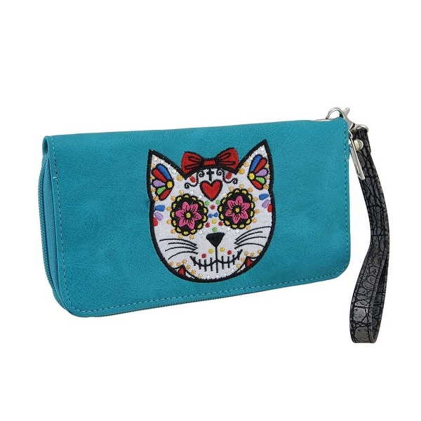 Embroidered Sugar Cat Floral Trim Wallet w/Removable Wrist Strap