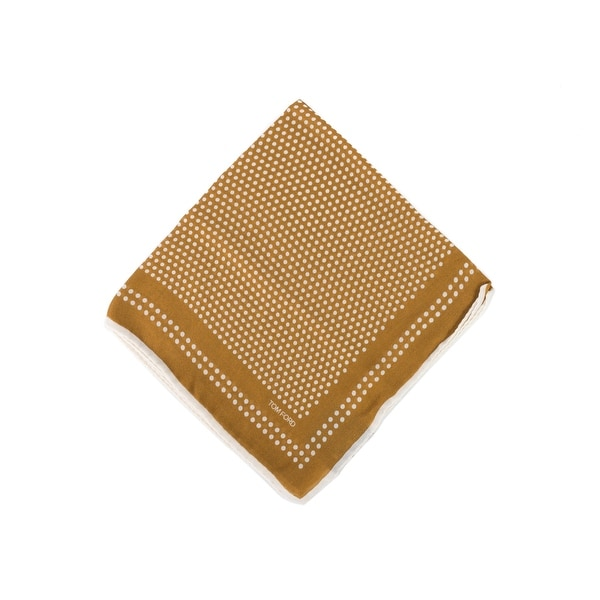 Tom Ford Men's Tan Brown Polka Dot Pocket Square One Size~RTL$180 - One Size