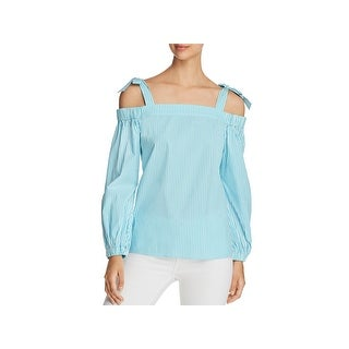 MICHAEL Michael Kors Womens Pullover Top Striped Off-The-Shoulder