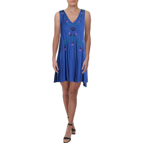 Free People Womens Adelaide Festival Slip Dress Lace-Up V-Neck