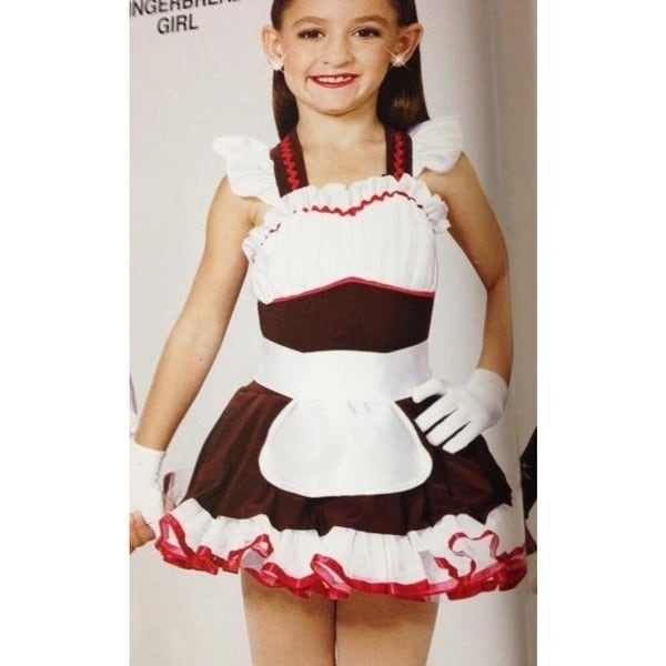 Christmas Dance Costume Gingerbread Girl Parade Pageant Tap Ballet