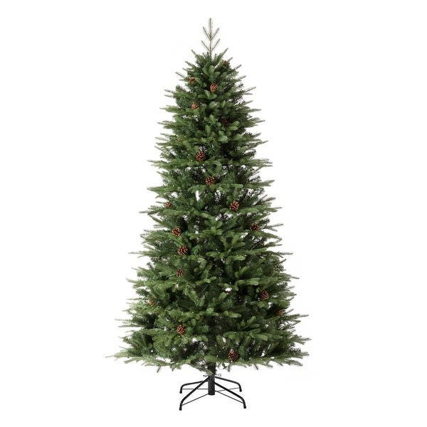 Glitzhome Pre Lit Green Fir Artificial Christmas Tree With Led Warm Lights And Remote Controller Overstock 31721233 7 5 Foot New Arrival
