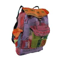 Colorful Recycled Rice Bag Backpack 17 in. Tall, 12 in. Long, 5 in. Wide