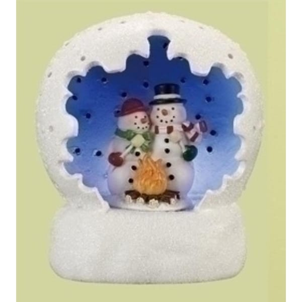"4"" Vibrantly Colored Battery Operated LED Lighted Snowman Couple Scene Table Top Christmas Dome - WHITE"