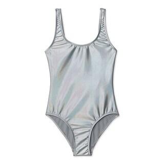 Stella Cove Girls Silver Metallic Shine Mermaid One Piece Swimsuit