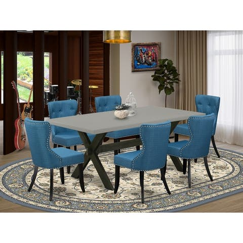 Dining Table Set - Kitchen Parson Chairs with Blue Linen Fabric Seat and Button Tufted Chair Back (Multiple Option)