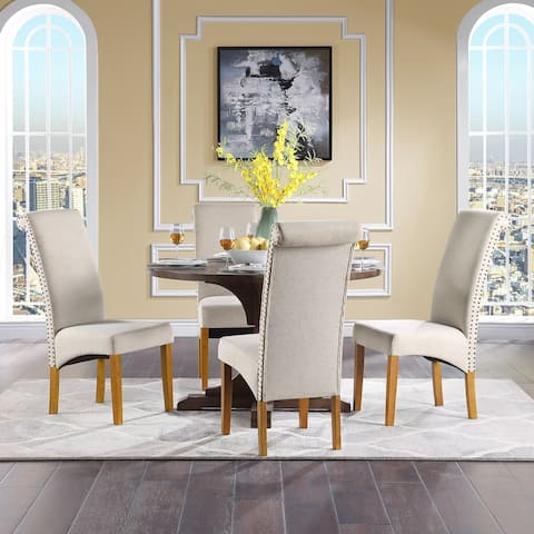 Beige Dining Chair with Solid Wood Legs, Nailed Trim(Set of 4)