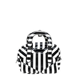 Marc by Marc Jacobs Womens Turn Around Leather Striped Satchel Handbag - Black/White - SMALL