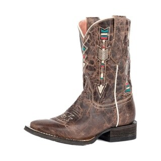 Roper Western Boots Girls Arrow Embroidered Brown