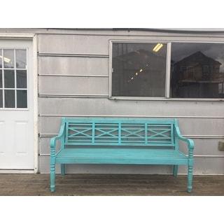 "SAFAVIEH Outdoor Living Karoo Beach House Blue Bench - 70.1"" x 24.4"" x 34.3"""