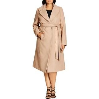 City Chic Womens Plus Cara Long Coat Wrap Long Sleeves