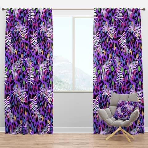 Designart 'Leopard Fur Safari VIII' Mid-Century Modern Blackout Curtain Panel