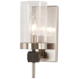 "Minka Lavery 4631 Bridlewood Single Light 4-1/2"" Wide Bathroom Sconce with Seedy - stone grey with brushed nickel"