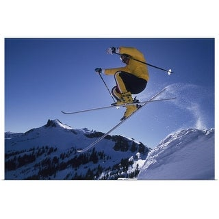 """Downhill Skier Jumping"" Poster Print"