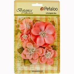 "Coral - Botanica Sparkling Glitter Magnolia Mix 1.25"" To 2.75"" 5/Pkg"