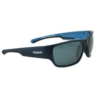 Reebok RB 12 Polarized Sunglasses Navy Smoke w/Silver Flash - smoke w/ silver flash