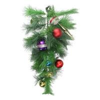 "24"" Pre-Decorated Multi-Color Ornament Long Needle Pine Artificial Christmas Teardrop Swag - Unlit - multi"