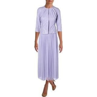 Alex Evenings Womens Petites Dress With Jacket Metallic 3/4 Sleeves - 8P