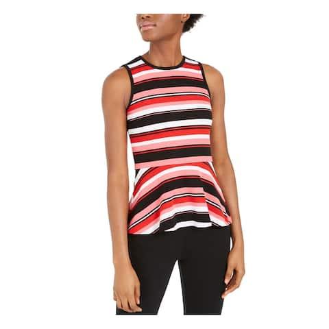MICHAEL KORS Womens Pink Striped Sleeveless Jewel Neck Top Size XL