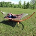 Sunnydaze Wooden Curved Arc Hammock & Hammock Stand, 13 Feet Long, 400 Pound Capacity - Thumbnail 5