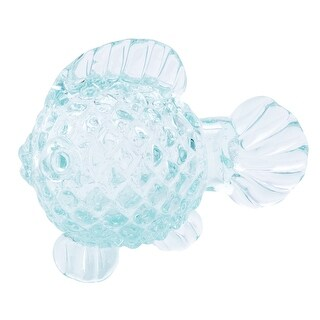Round Glass Fish with Grooved Scales Tabletop Figurine 6.75 Inches