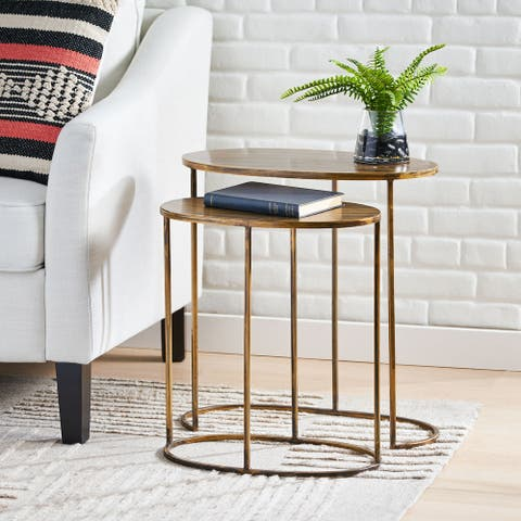 Wilsey Handcrafted Oval Nesting Tables by Christopher Knight Home