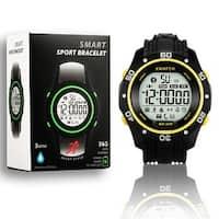 Indigi® Sports Styled Rugged Waterproof Bluetooth 4.0 Watch w/ Pedometer + SMS/Call Notification + StopWatch (Yellow)