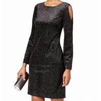 Jessica Howard Black Womens Size 14 Cold-Shoulder Sheath Dress