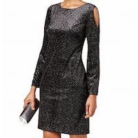 Jessica Howard Black Womens Size 8 Velvet Shimmer Sheath Dress